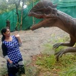 The dinosaurs in the dino park are interactive and it moves and roars while we pass by ....