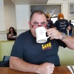 Relish's theme on their coffee mugs: Food, Family, Life! (my husband loves to wear my glasses..