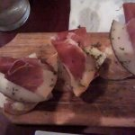 serrano ham with manchego and romesco sauce