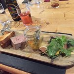 Rustic Farm Pate with Pear and Saffron Chutney and Bacon and Thyme Crouton.