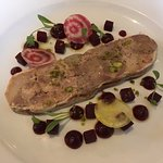 pork and duck terrine with pistachios and beetroot salad