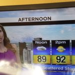 Our room keys at Ramada Plaza and the weather report for the day as seen on the news from our in