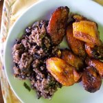 Plantains, beans and rice from breakfast buffet