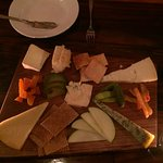 Cheese plate features 5 New York State cheeses and honeycomb