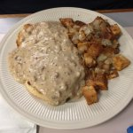 Sausage and Gravy over biscuits