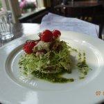 Lamb with pesto and cherry tomatoes to start