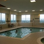 Small, but fun, the swimming pool on the 15th floor at Courtyard, Marriott.