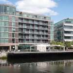 View of hotel from the other side of the river Lee looking north