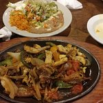 Generous portions,  steak-chicken fajaita; shredded beef Chimechanga