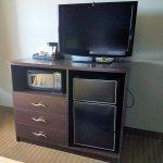 Microwave, refrigerator, TV, & pod-style coffeemaker