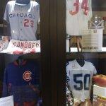 Sports memorabilia display at Harry Carey's