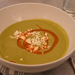 Chilled Split Pea with Feta and Chili Oil