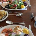 Main trio of fish salad and crab salad (light version). Tasty!