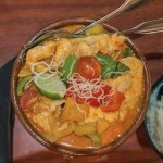 Chicken red curry. A generous serving