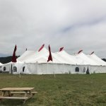 Marquee setting up for weekend music festival