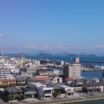 Far over the port, you can find modern bridges between Imabari and Geiyo Archipelagos.