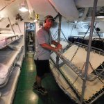 inside the sleeping quarters on the Bowfin