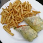 Vegetable wrap and fries
