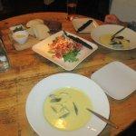 Mussels soups, salad an bread platter