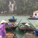 Rainy day in floating fishing village
