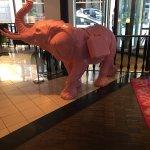 Pinkt elephant at enrance