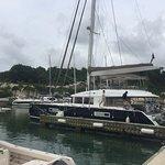 Cool Runnings catamaran at the dock in Port Ferdinand