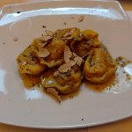 Large tortellini special with shaved truffles on top