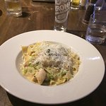 Pappardelle Gorgonzola pasta with a Peroni