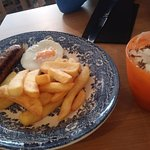 Kids sausage, egg & chips with a choccy milkshake - all eaten with smiles!