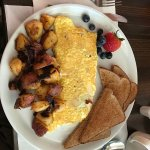 Avacado toast special and an omelette plate at the goose rocks breakfast restaurant.