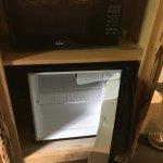 small refrigerator & microwave