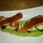 Scallops with black pudding, parma ham & pea puree starter