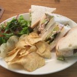 Prawn & Avocado Sandwich with side salad and crisps