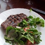 My Wife's Sirloin Steak Cooked Rare (She's a Vampire) with Salad ( So not really)
