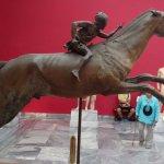 a beautiful bronze statue