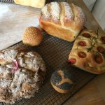 5 different types of bread that we baked- White bread, buns, Irish soda bread, Italian Focaccia