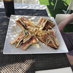 Club sandwich on the rooftop terrace, and the view from the terrace