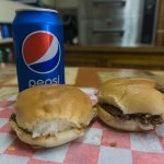 Two sliders and a Pepsi