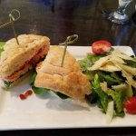 Salmon sandwich with Caesar salad