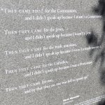 A stone marker at the memorial's exit containing a moving quote about the Holocaust.
