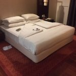 View of bed after turn-down service.