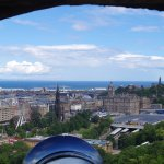 Looking through a cannon hole at the Scott Monument