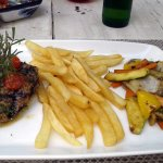 Filet Mignon with French Fries and Roasted Vegetables