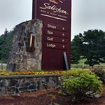 View of the sign from the golf parking lot