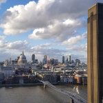 St. Paul's Cathedral and Millennium Bridge seen from Tate Modern
