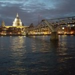 St. Paul's Cathedral and Millennium Bridge seen from bank of Thames