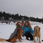 Guest Sarah with pooches Milo & Maude in Winter at Eden Valley.