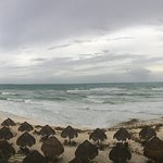 Panoramic shot of the beach area during the tropical storm