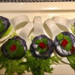 The menu has lots of options. The purple little flowers are the signature appetizer thr flower b