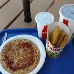 $23.78 for Cheese pizza, 3 Chicken Tenders & fries (underneath), Soda and free water ;-(